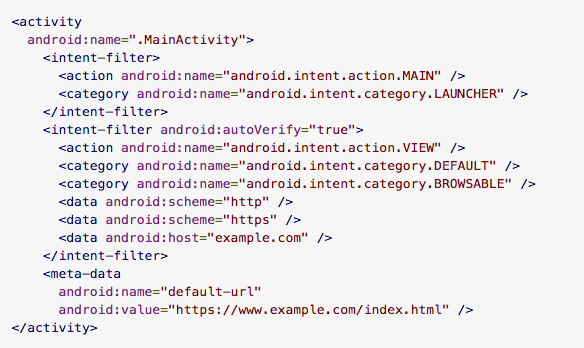 Android instant app msapps a snippet from the manifest file that defines an entry point activity and default url for an instant app fandeluxe Images